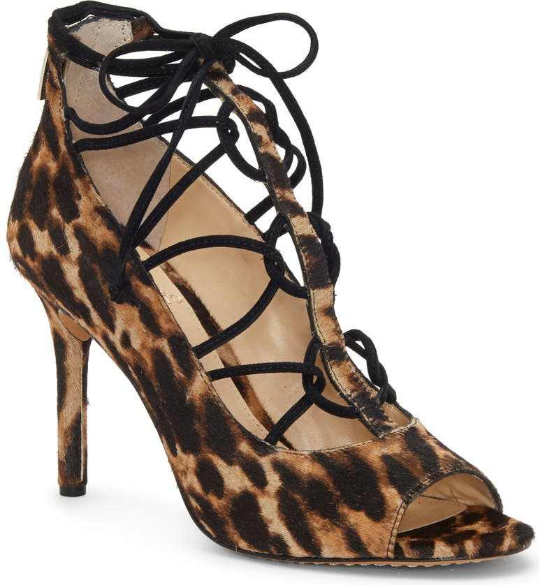 VINCE CAMUTO Chennan Lace-Up Open Toe Pump, Main, color, NATURAL/ BLACK LEATHER