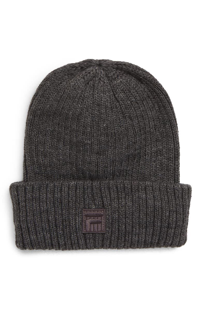 THE HERITAGE COLLECTION FILA Rib Shoreman Beanie, Main, color, GREY HEATHER
