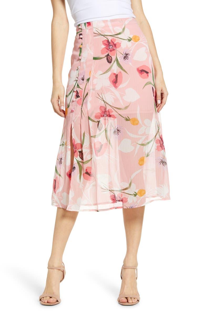 Floral Chiffon Skirt, Main, color, PINK SPARKLE FLORAL
