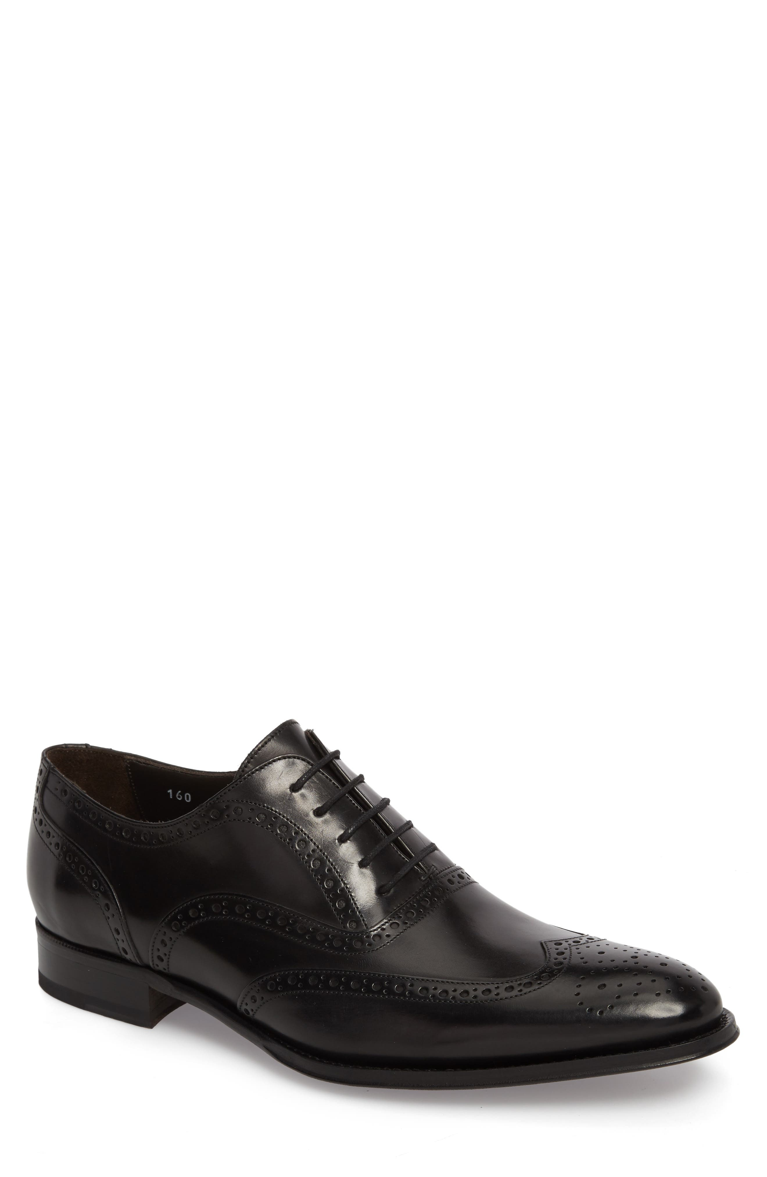 ,                             Milton Wingtip Oxford,                             Main thumbnail 1, color,                             BLACK LEATHER