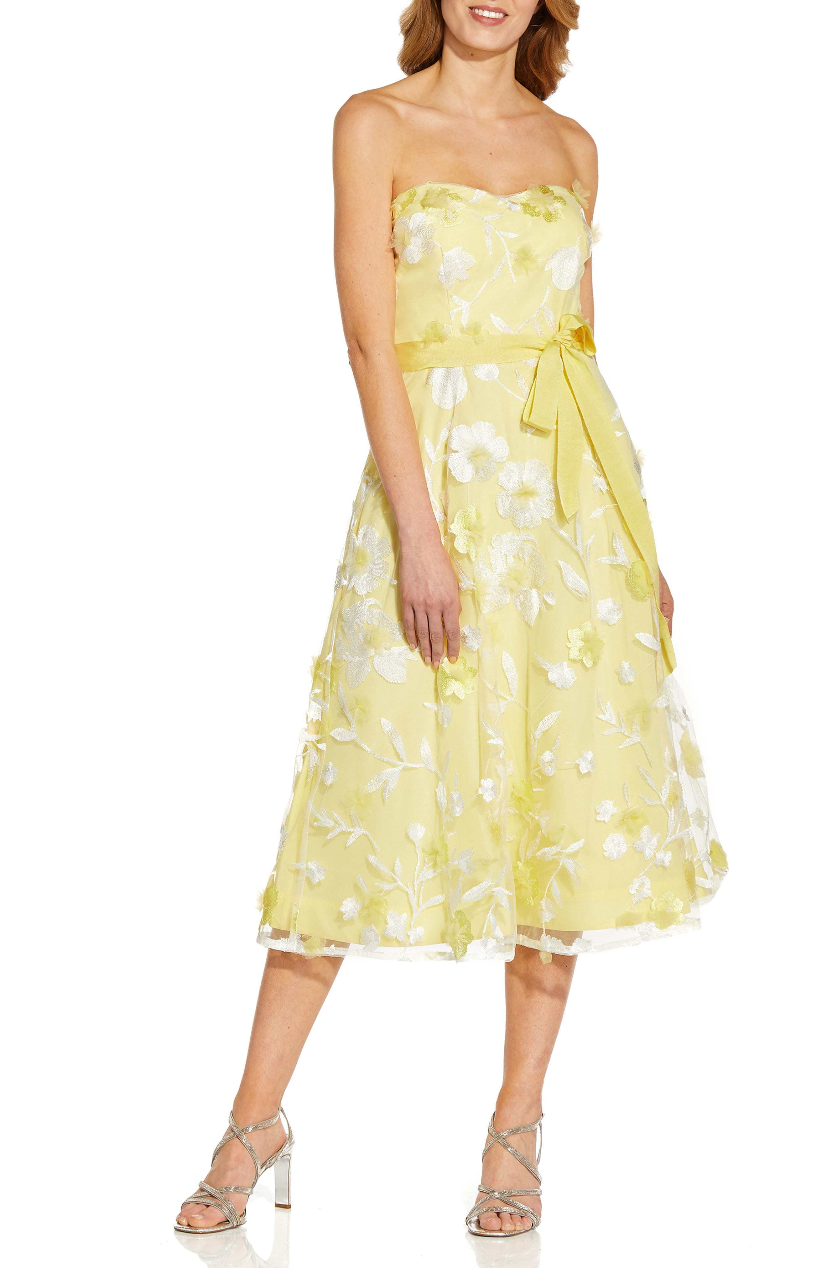 50s Wedding Dress, 1950s Style Wedding Dresses, Rockabilly Weddings Womens Adrianna Papell Floral Embroidered Strapless Cocktail Midi Dress Size 16 - Yellow $249.00 AT vintagedancer.com