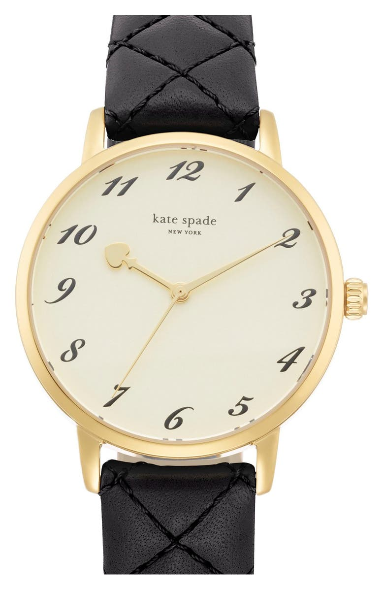 KATE SPADE NEW YORK 'metro' quilted leather strap watch, 34mm, Main, color, 001