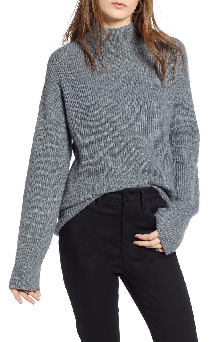 TREASURE & BOND Ribbed Funnel Neck Sweater, Main, color, 030