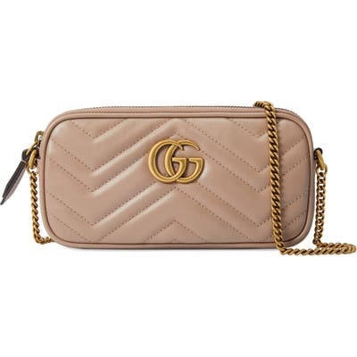 Gucci Mini Matelasse Leather Crossbody Bag - Beige