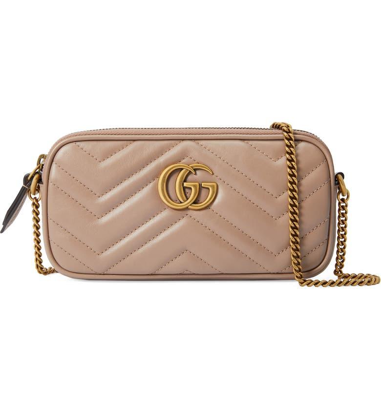 GUCCI Mini GG Marmont 2.0 Matelassé Leather Crossbody Bag, Main, color, PORCELAIN ROSE