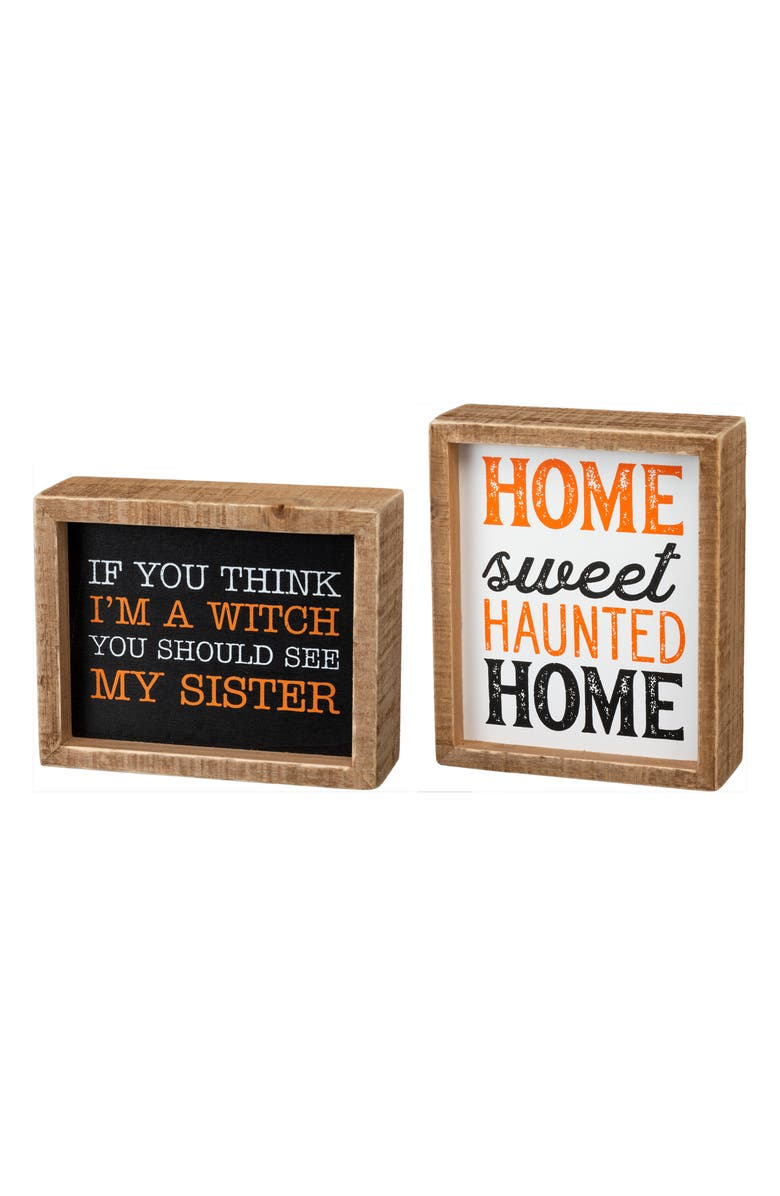 PRIMITIVES BY KATHY Set of 2 Halloween Box Signs, Main, color, 001