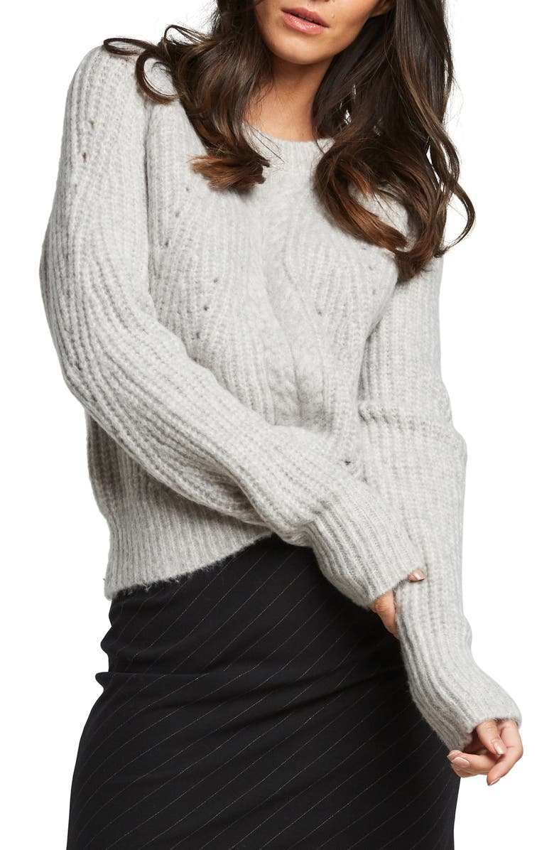 BARDOT Cozy Cable Knit Sweater, Main, color, GREY MARLE