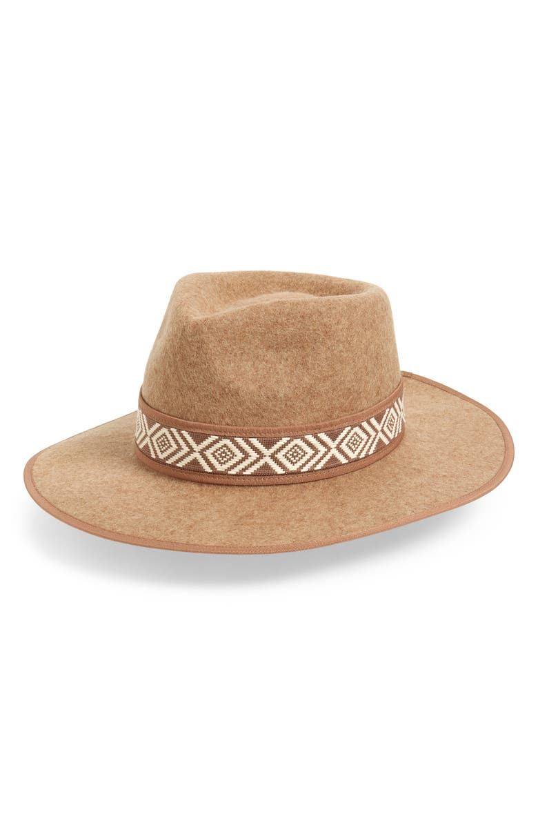 TREASURE & BOND Felted Wool Western Hat, Main, color, TAN CAMEL HEATHER COMBO