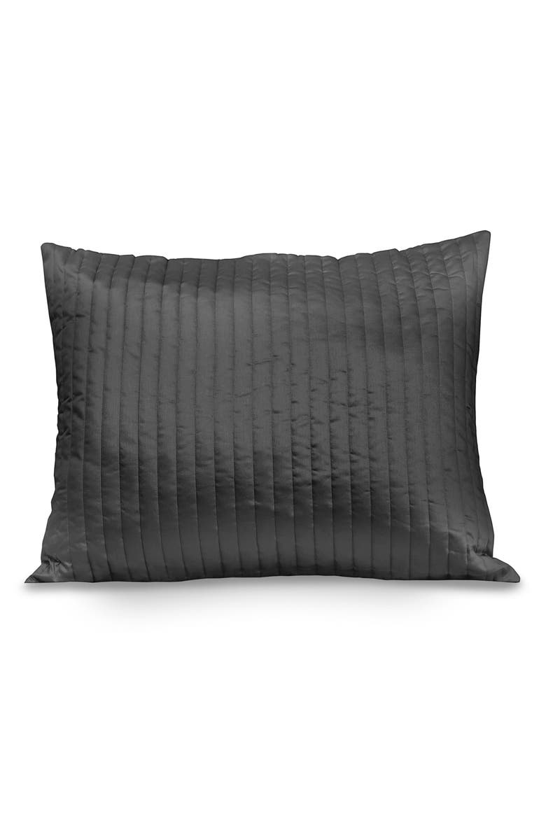 SIGNORIA FIRENZE Sienna 300 Thread Count Quilted Sham, Main, color, LEAD GREY