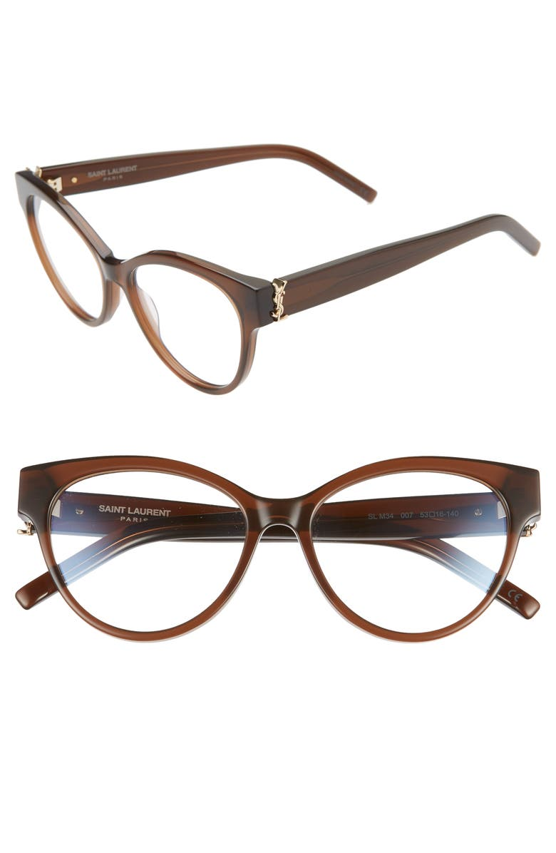 SAINT LAURENT 53mm Cat Eye Optical Glasses, Main, color, BROWN