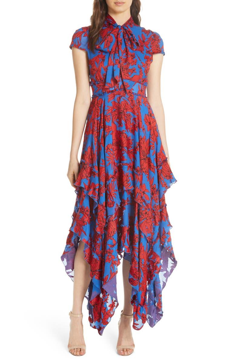 cedabe9030c9f Alice + Olivia Ilia Tie Neck Layered Ruffle Dress | Nordstrom