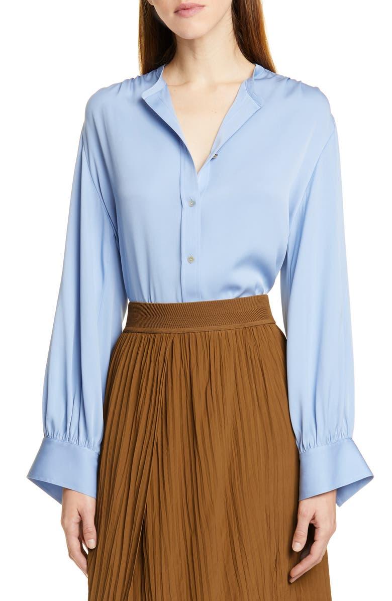 VINCE Shirred Stretch Silk Blouse, Main, color, AVALON