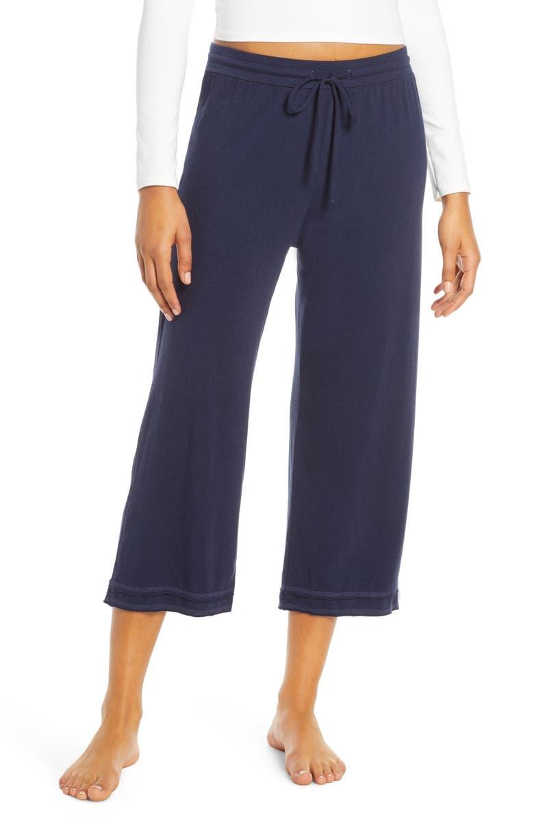 GROCERIES APPAREL Lara Step Hem Crop Lounge Pants, Main, color, INK