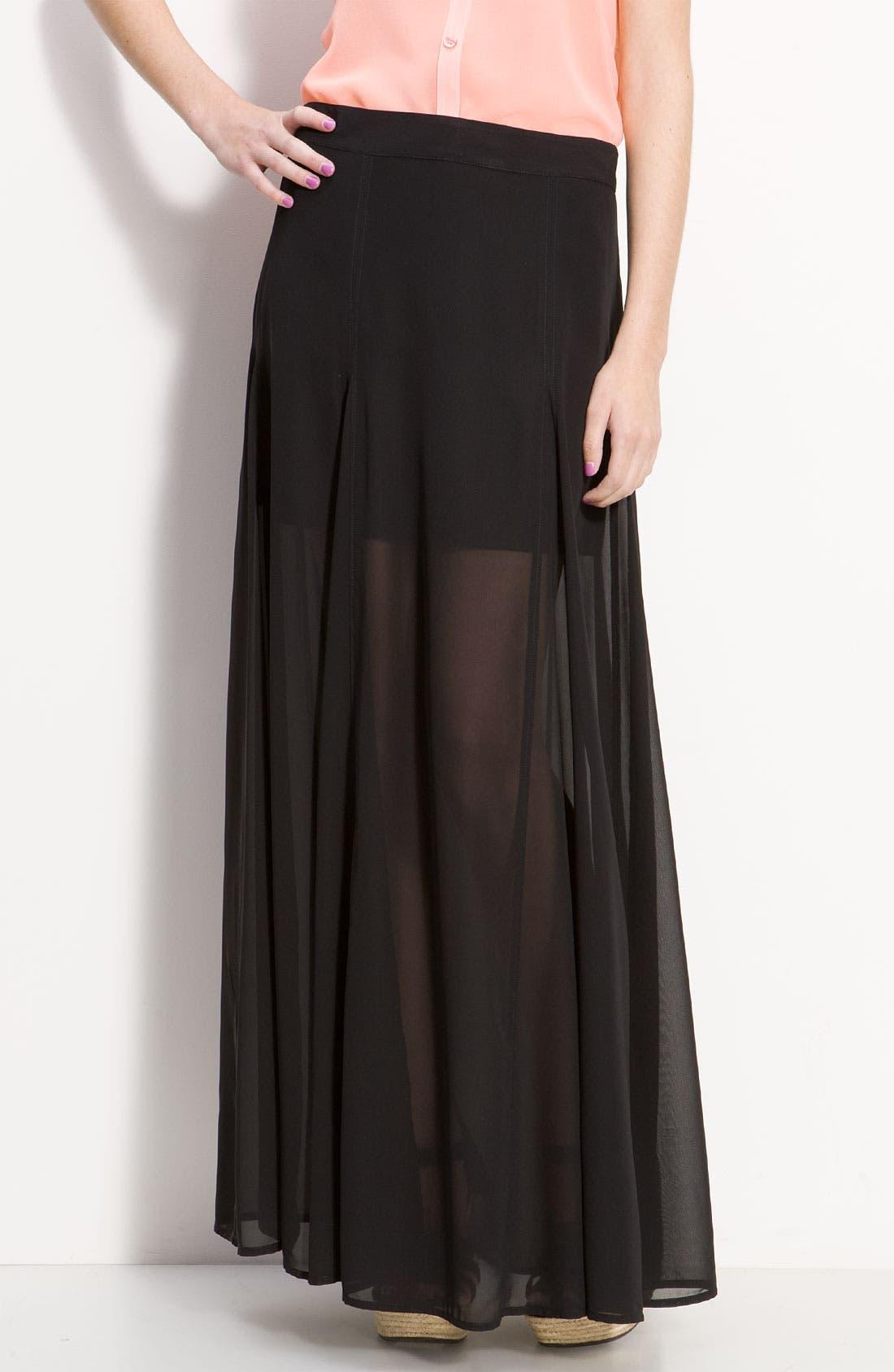 <sup>®</sup> Half Sheer Chiffon Maxi Skirt, Main, color, 001