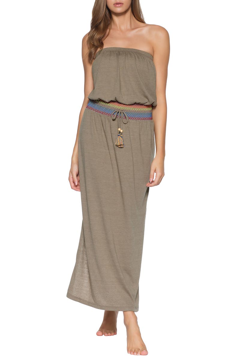 SOLUNA Sunset Smocked Cover-Up Maxi Dress, Main, color, EARTH