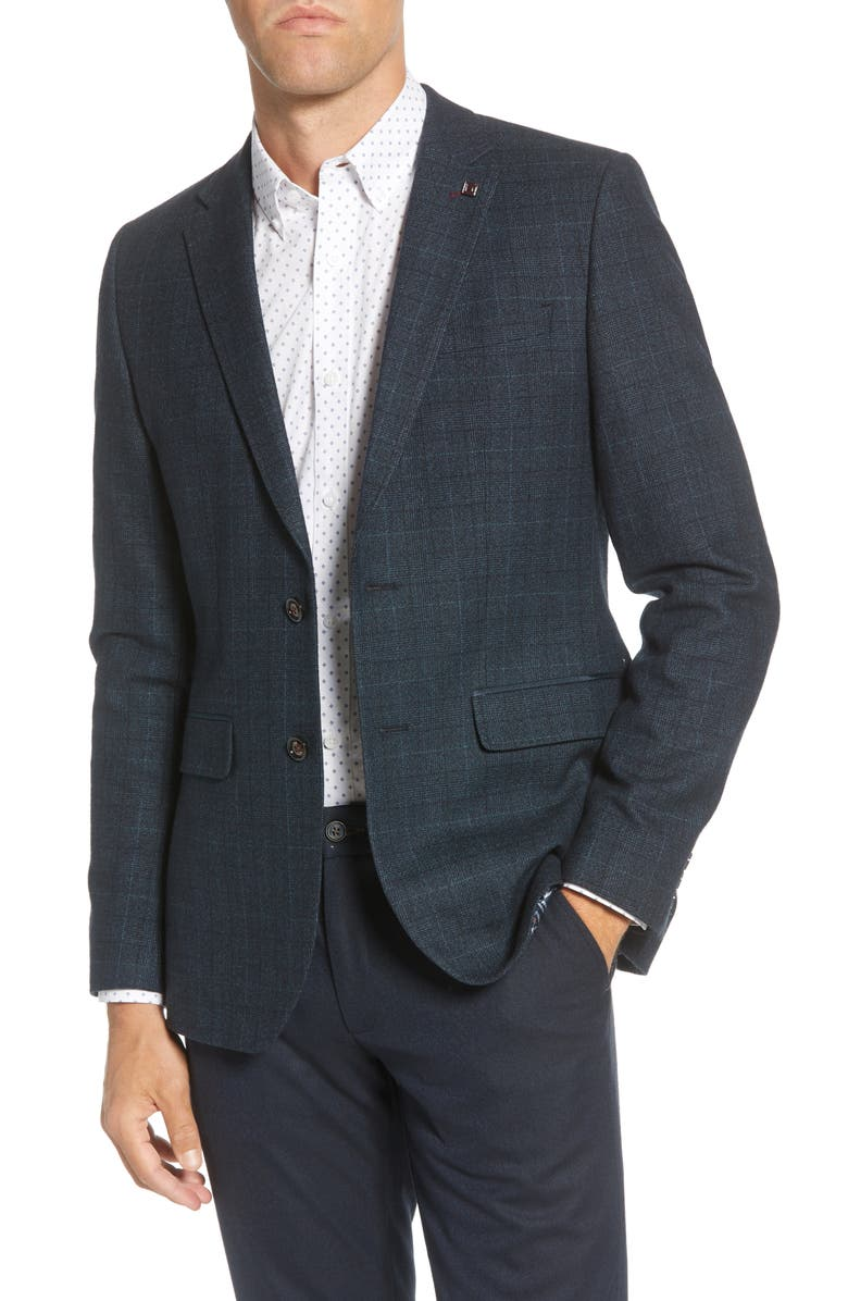 TED BAKER LONDON Armagh Check Trim Fit Wool Blend Blazer, Main, color, 400