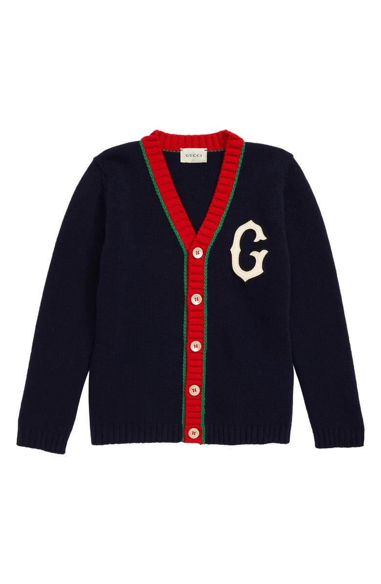 GUCCI Wool Varsity Cardigan, Main, color, INK/ RED