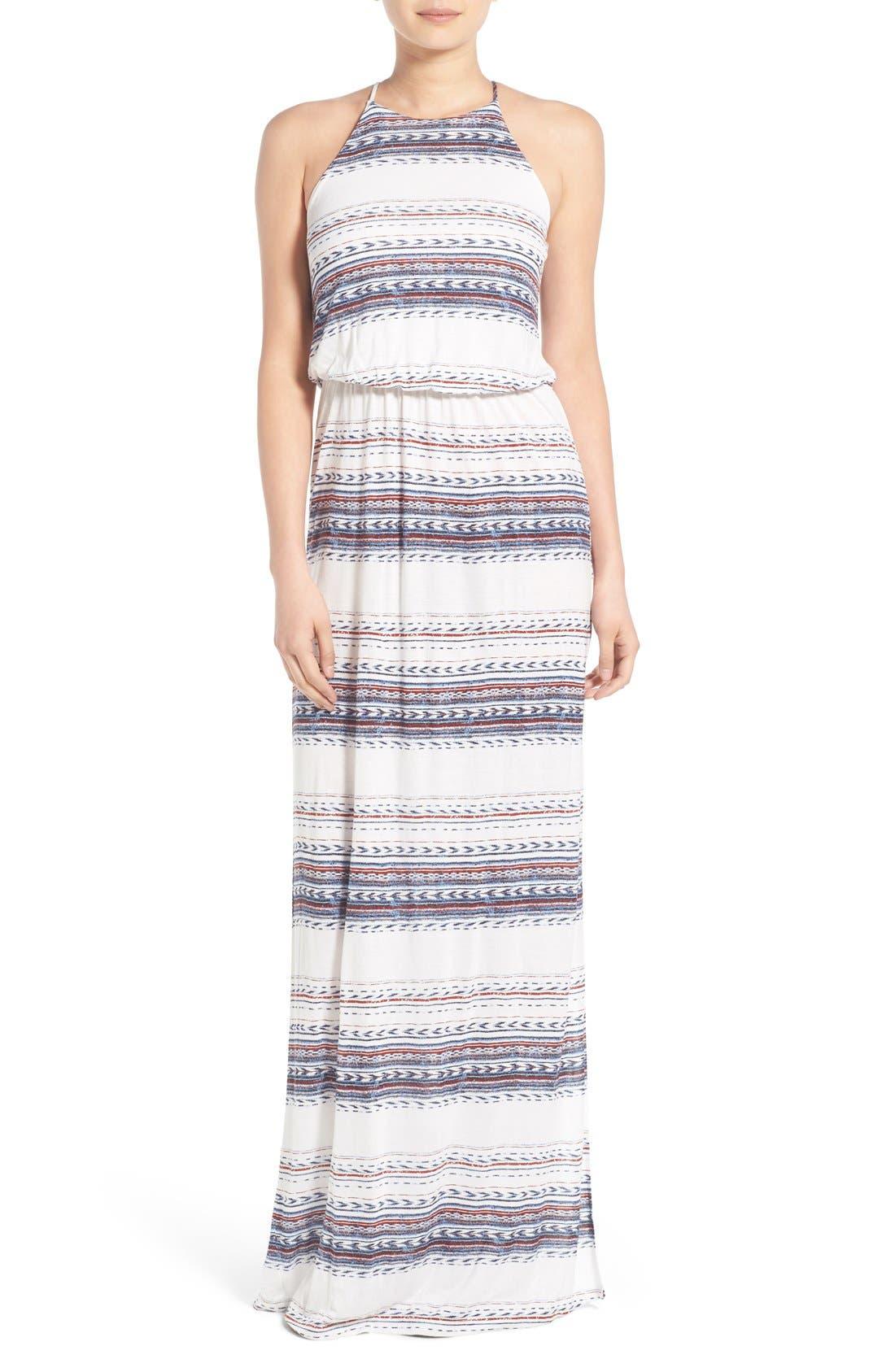 ,                             High Neck Maxi Dress,                             Main thumbnail 145, color,                             901