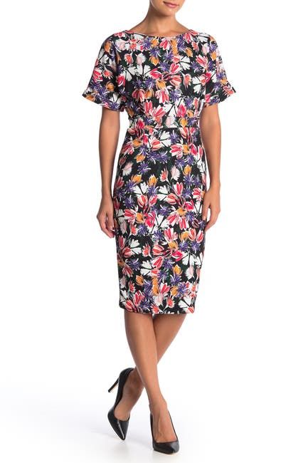 Image of Alexia Admor Dolman Sleeve Midi Sheath Dress