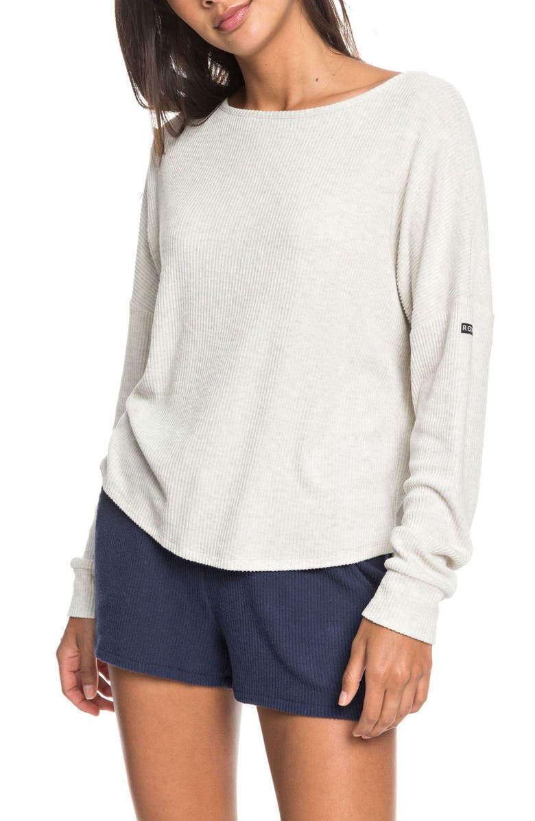 ROXY Everyday Rib Pullover, Main, color, METRO HEATHER