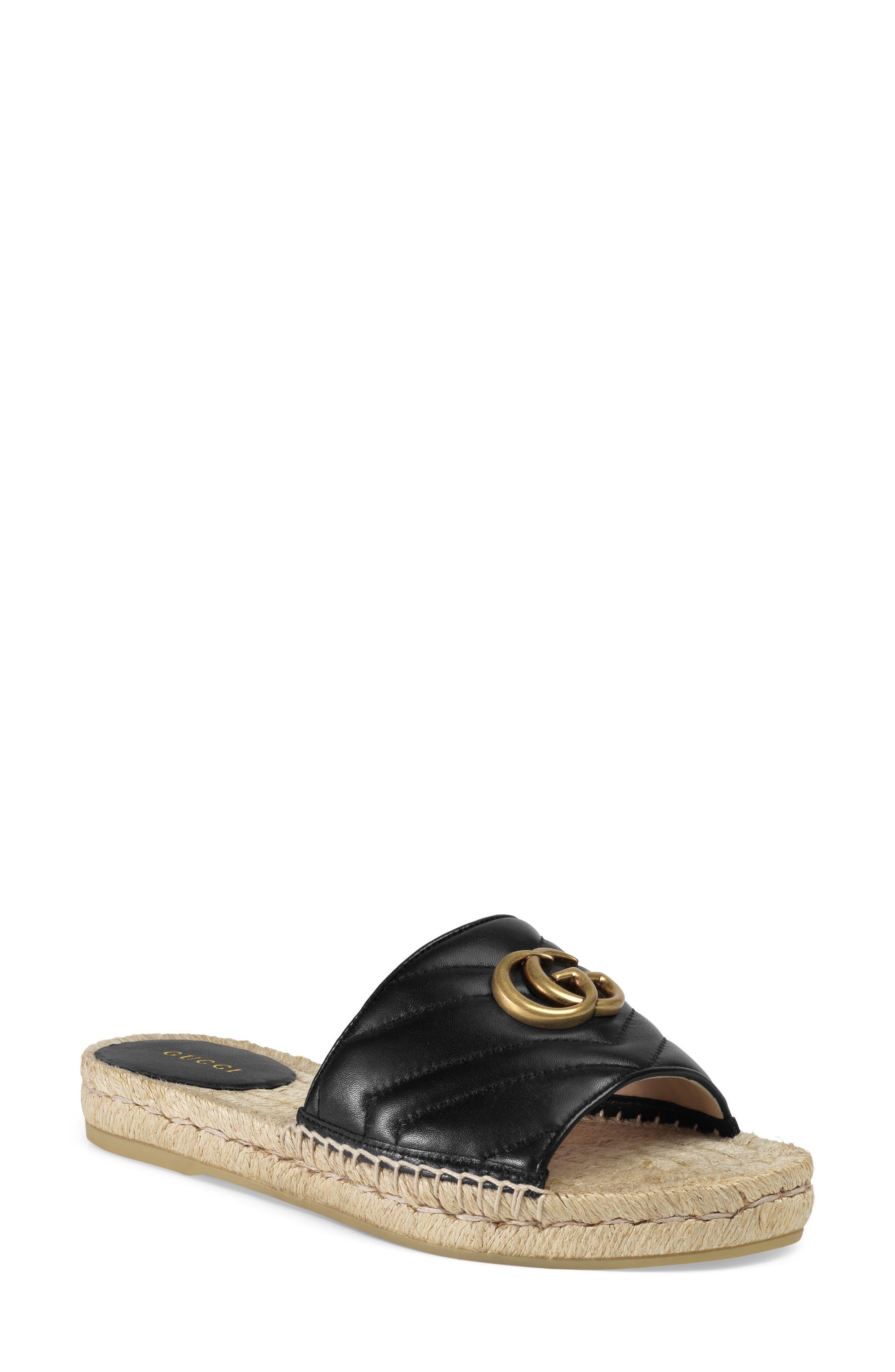 Pilar Espadrille Slide Sandal, Main, color, BLACK