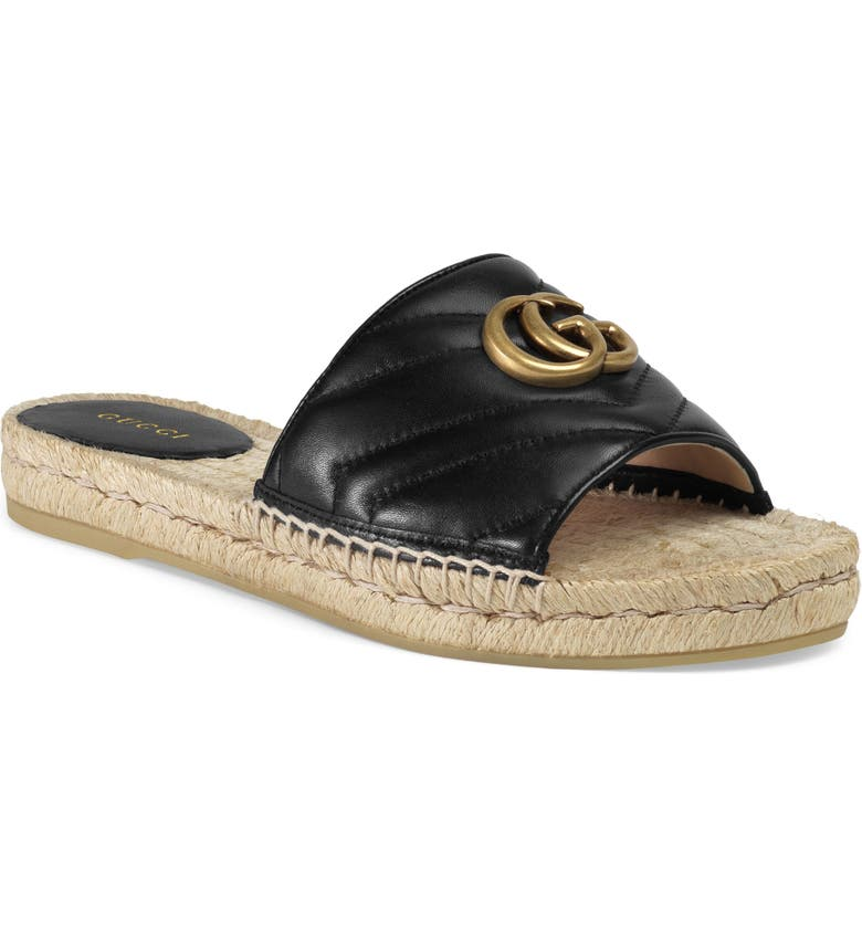 GUCCI Pilar Espadrille Slide Sandal, Main, color, BLACK