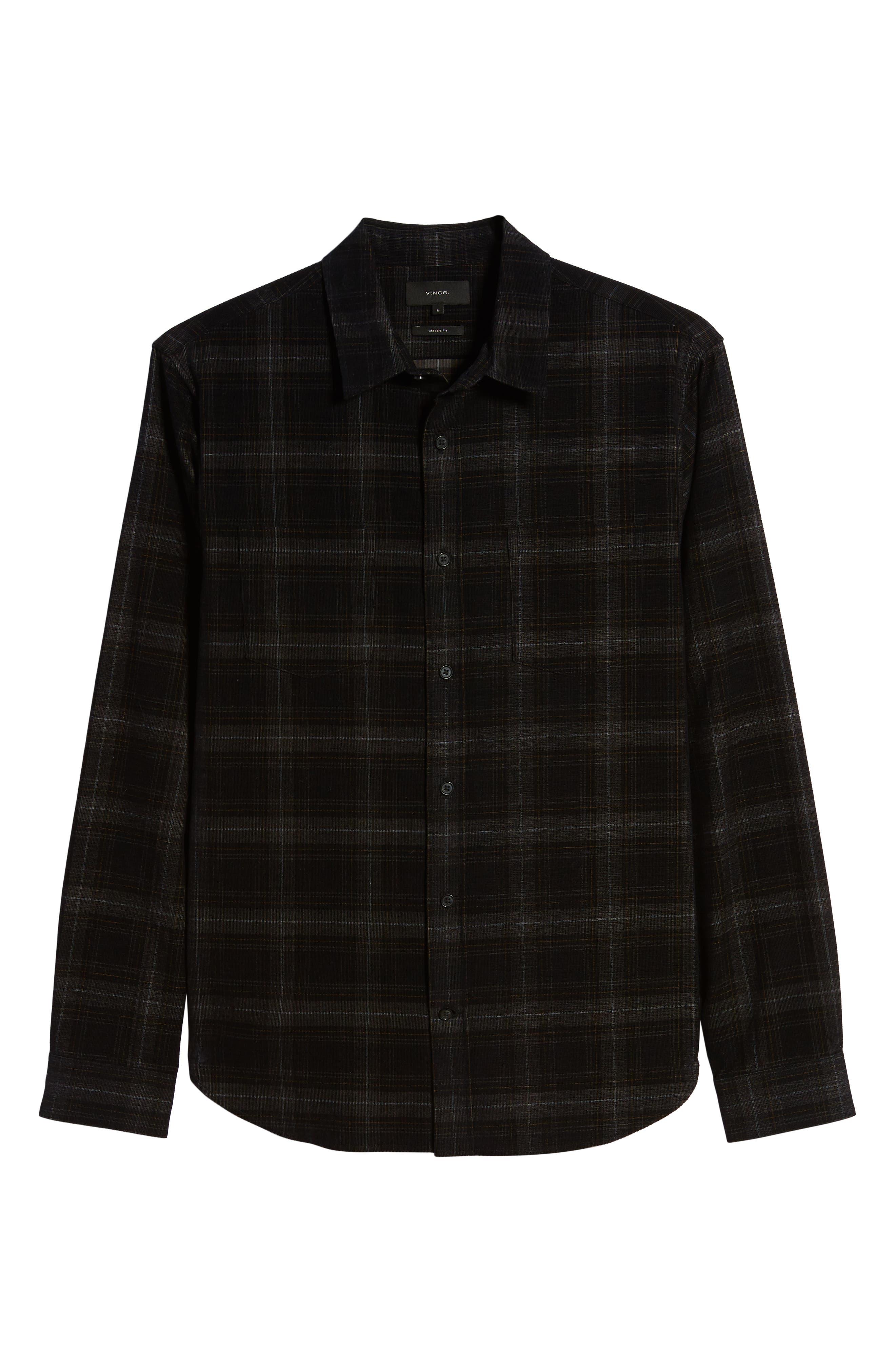 Vince T-shirts Classic Fit Plaid Corduroy Button-Up Shirt