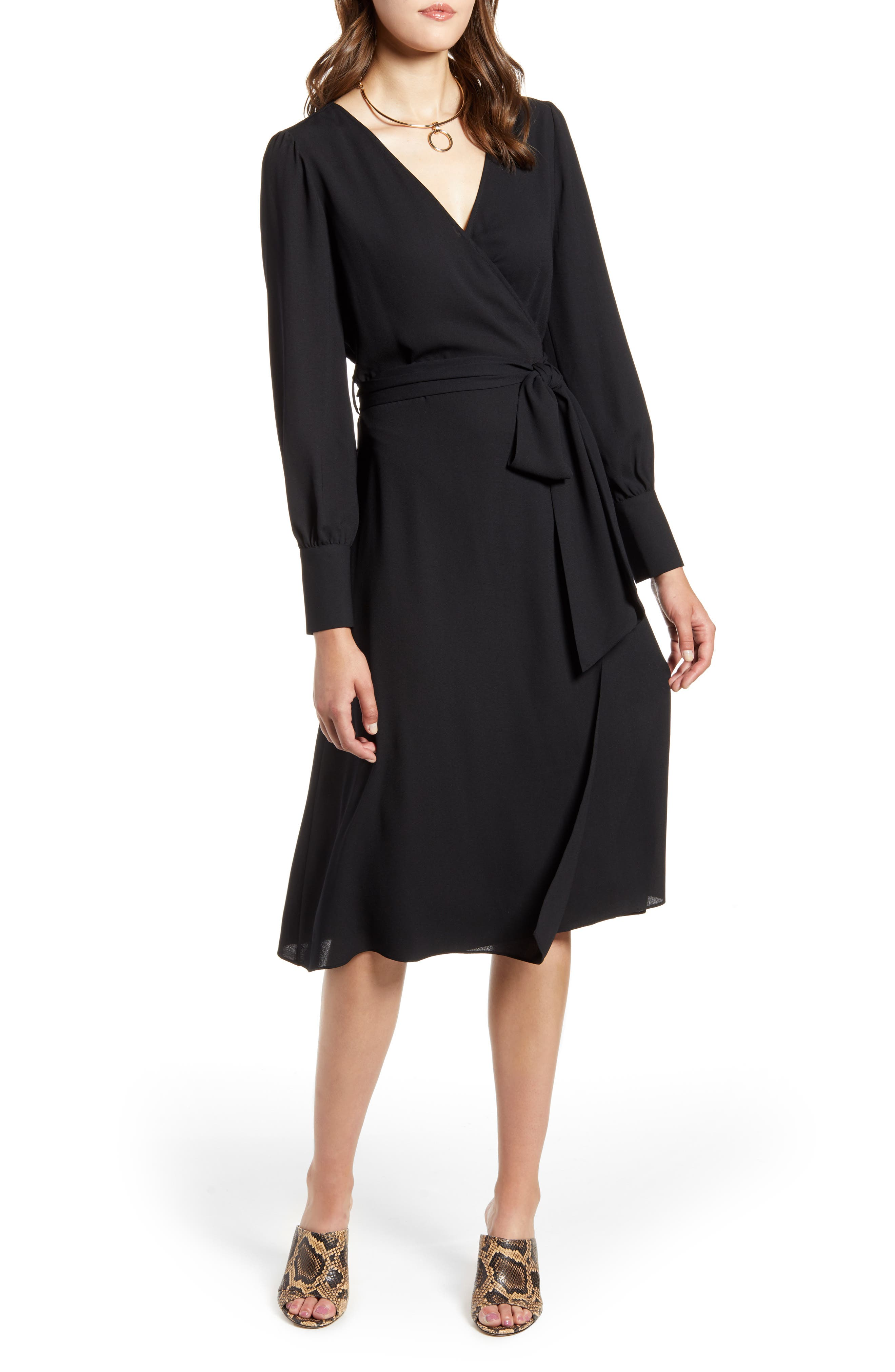 1940s Cocktail Dresses, Party Dresses Womens Halogen Long Sleeve Wrap Midi Dress Size Large - Black $99.00 AT vintagedancer.com