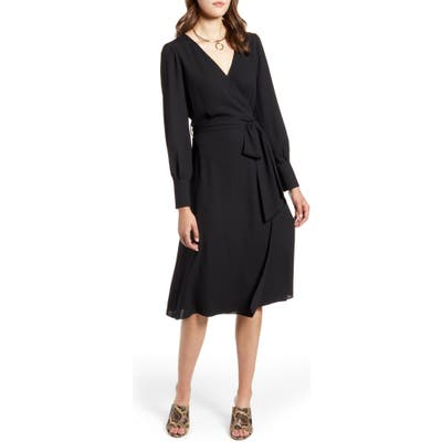 Petite Halogen Long Sleeve Wrap Midi Dress, Black