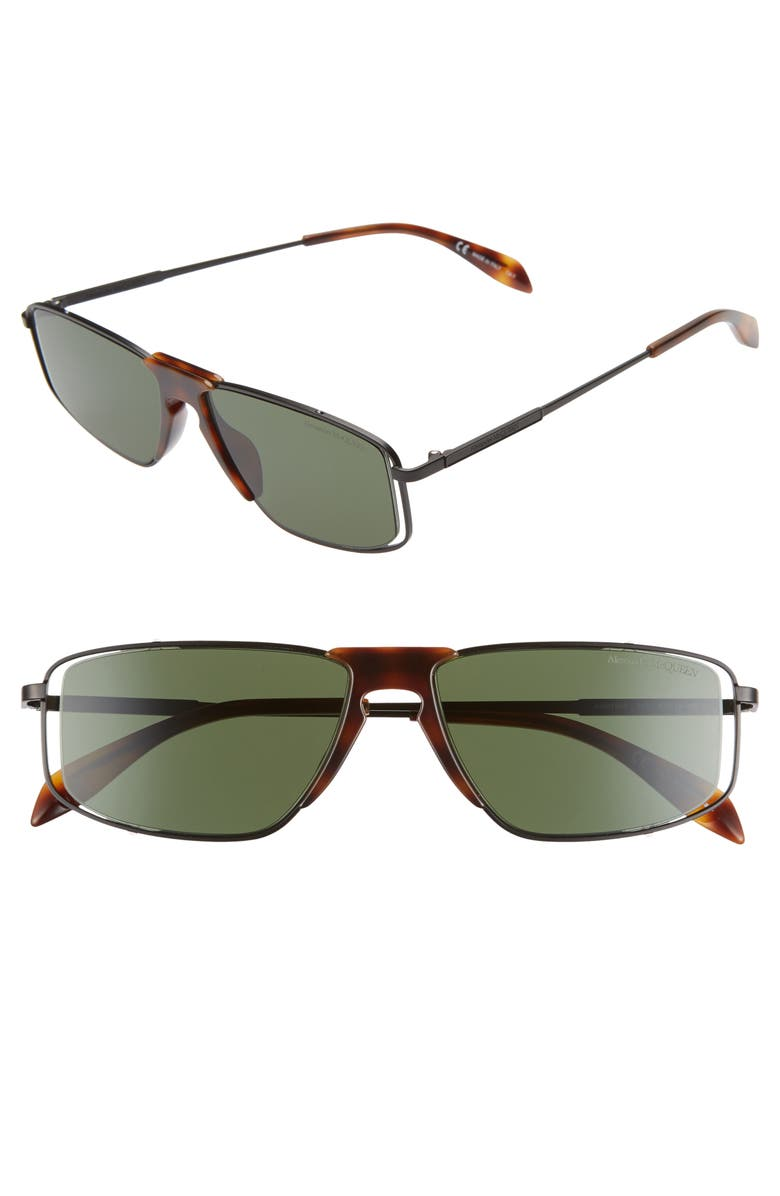 ALEXANDER MCQUEEN 57mm Rectangle Sunglasses, Main, color, MATTE BLACK/ SHINY HAVANA
