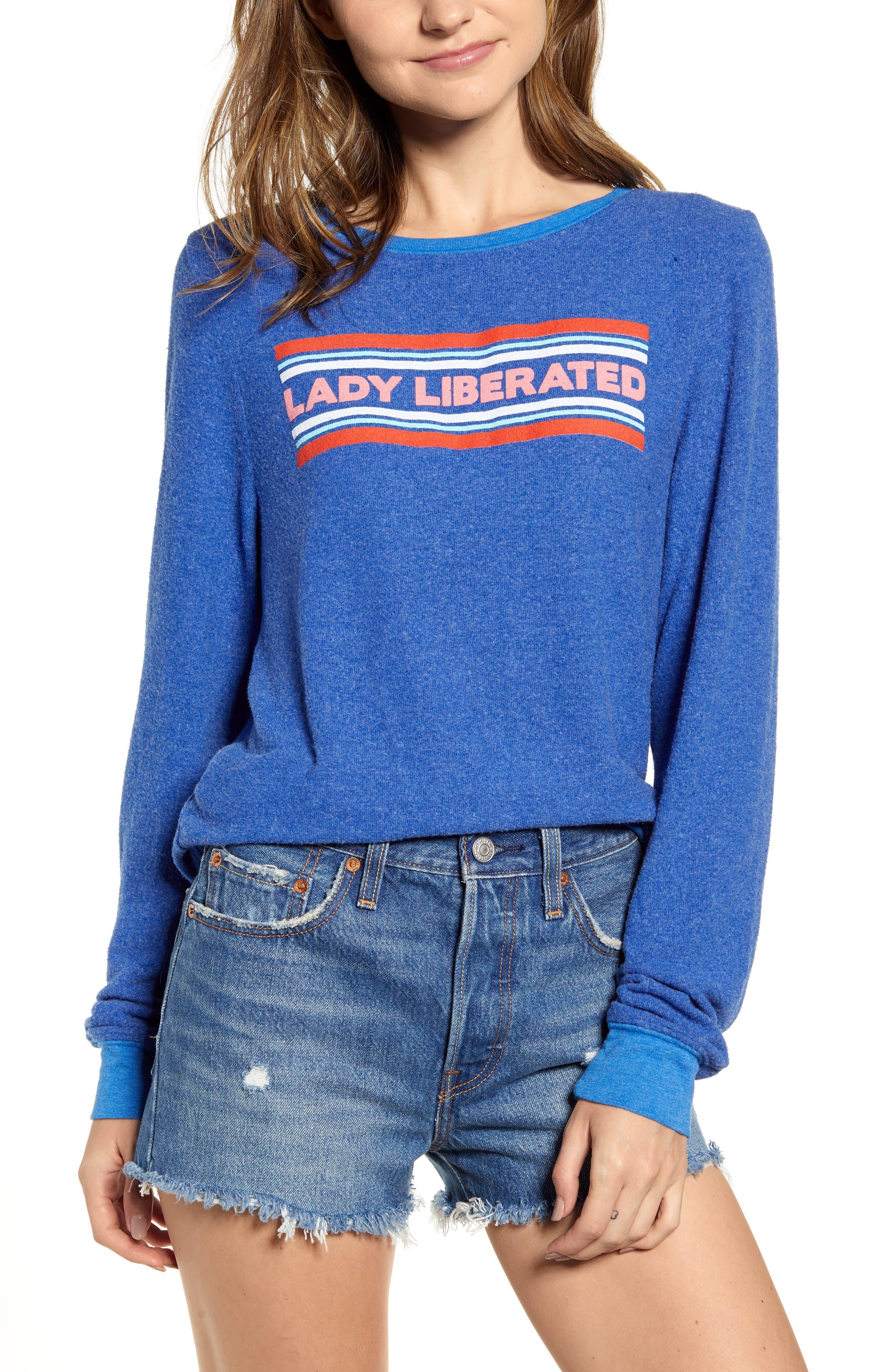 Wildfox Lady Liberated Baggy Beach Jumper Sweatshirt, Blue