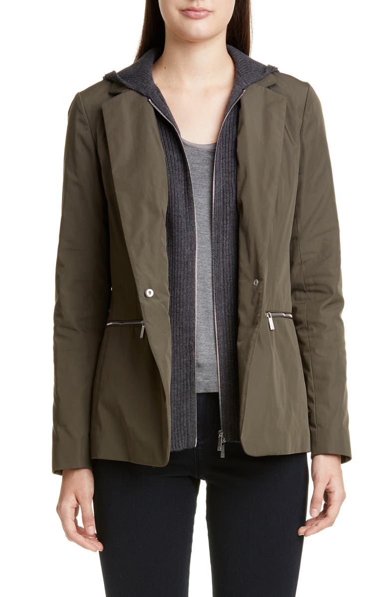LAFAYETTE 148 NEW YORK Grady Removable Dickey Jacket, Main, color, DARK BAY LEAF