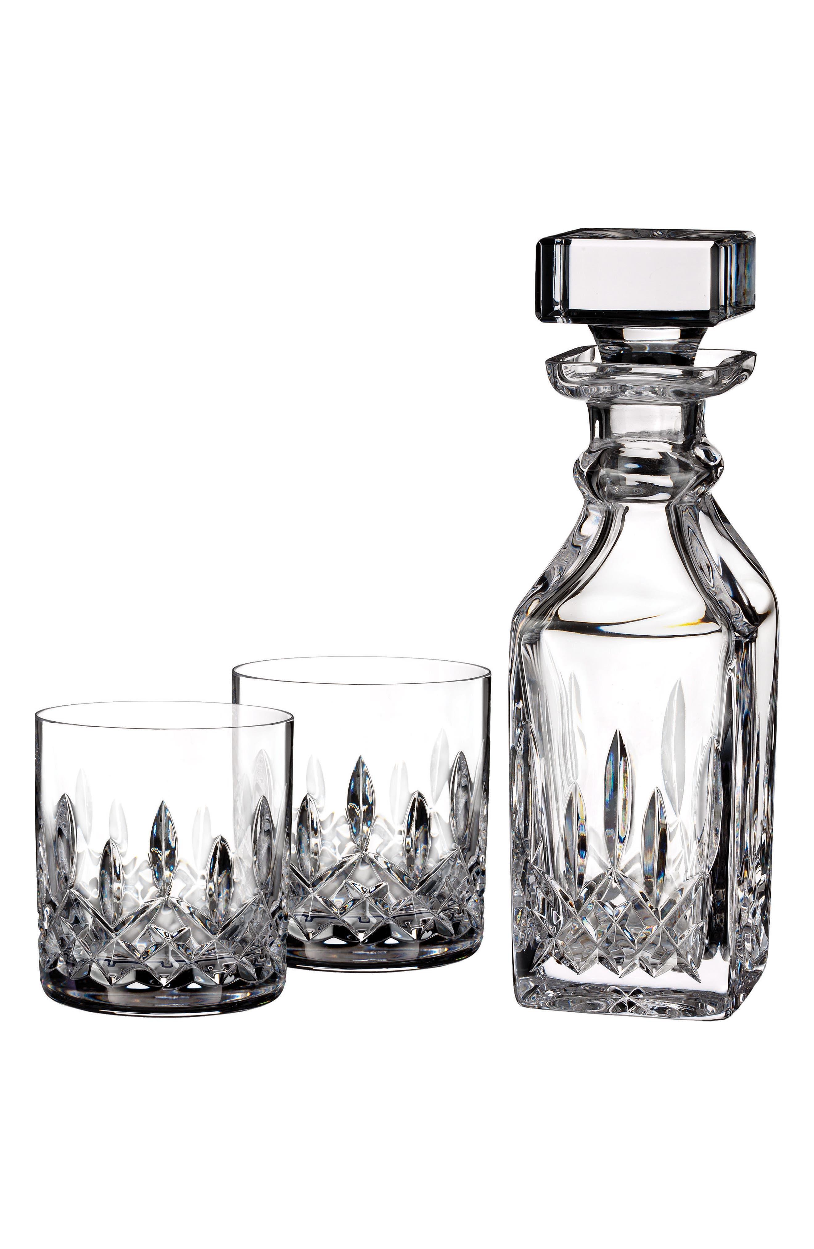,                             Lismore Square Lead Crystal Decanter & Tumbler Glasses,                             Main thumbnail 1, color,                             CRYSTAL