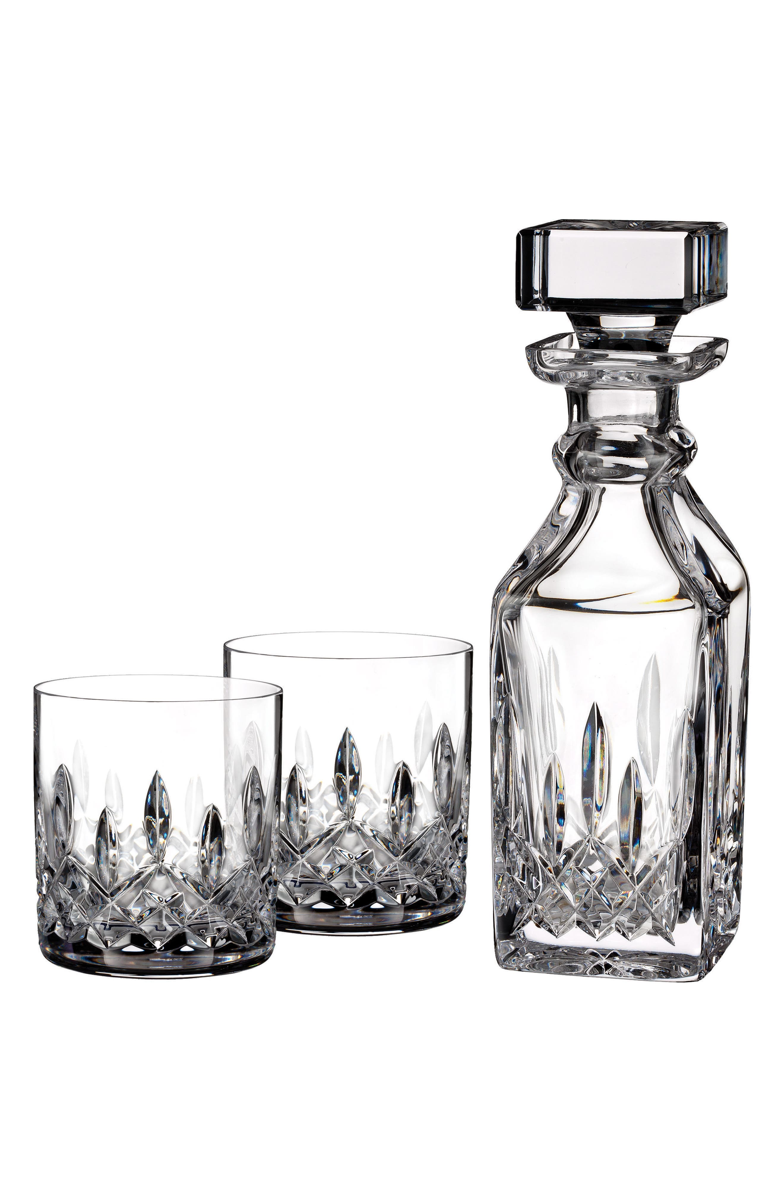 Lismore Square Lead Crystal Decanter & Tumbler Glasses, Main, color, CRYSTAL