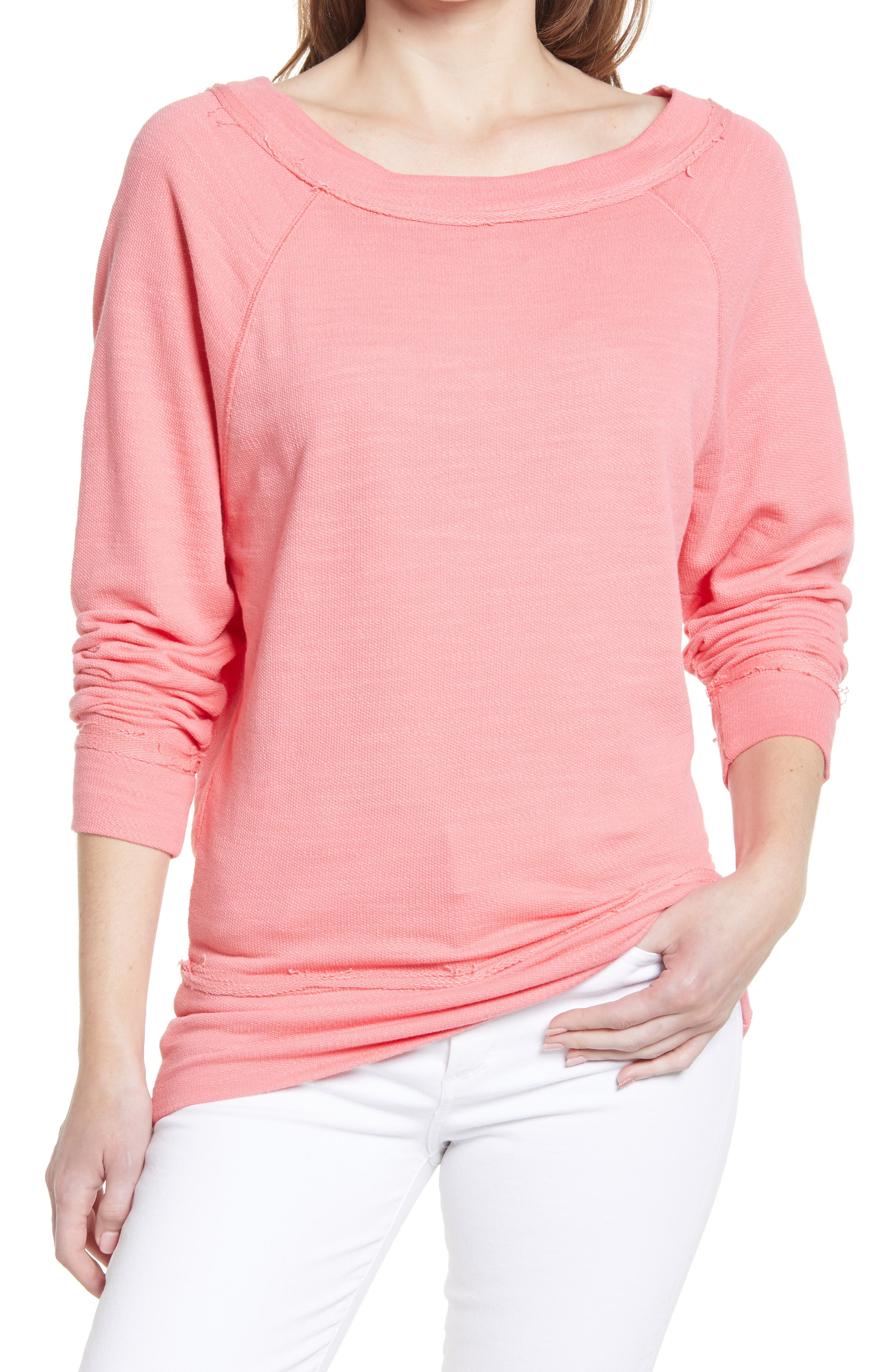 Women's Caslon Dolman Sleeve Cotton Blend Pullover