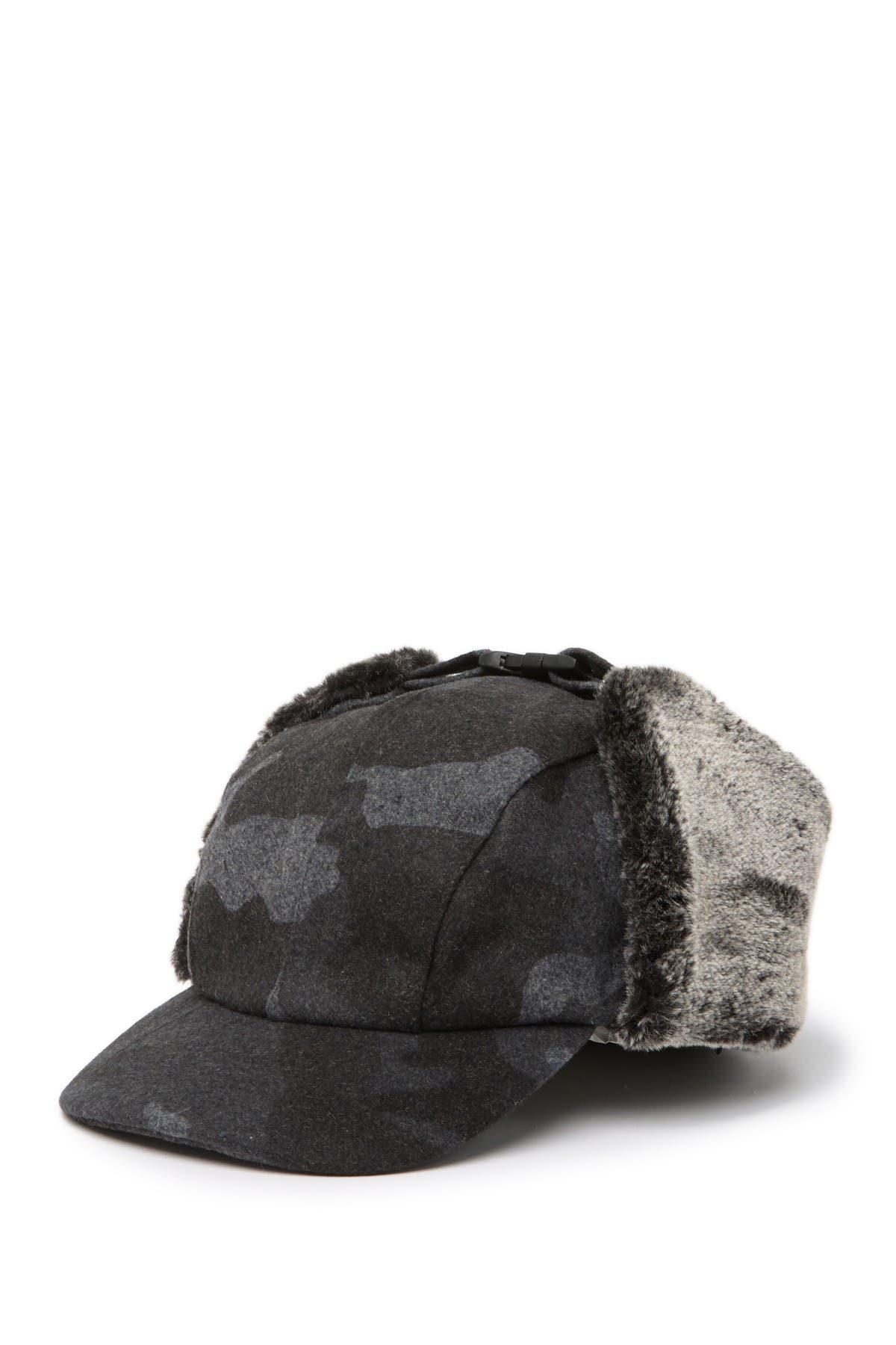 Image of Public Opinion Camo Faux Fur Detail Trapper Hat