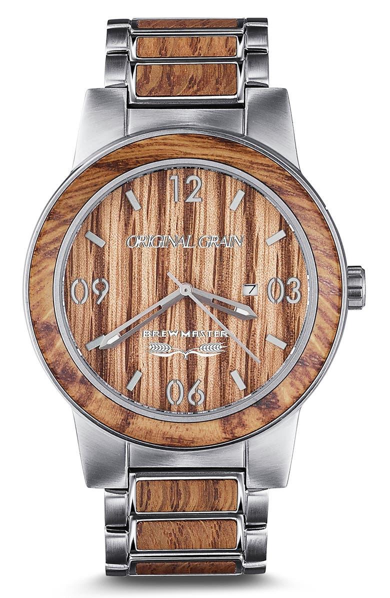 ORIGINAL GRAIN Brewmaster Barrel Bracelet Watch, 47mm, Main, color, 200