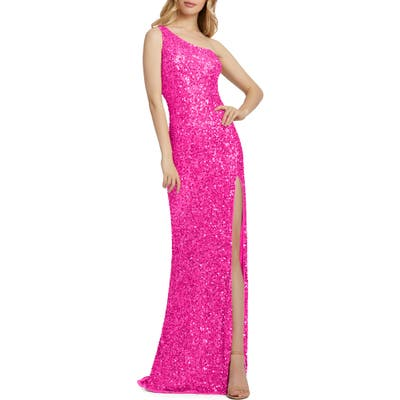 MAC Duggal Sequin One-Shoulder Column Gown, Pink