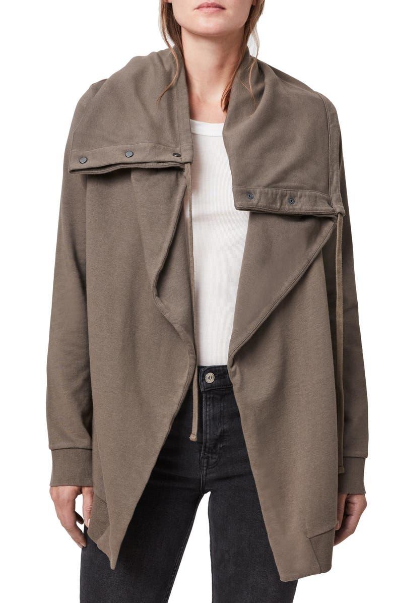 ALLSAINTS Brooke Knit Jacket, Main, color, KHAKI GREEN