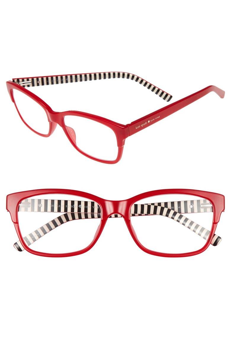KATE SPADE NEW YORK tenil 52mm reading glasses, Main, color, MILKY RED