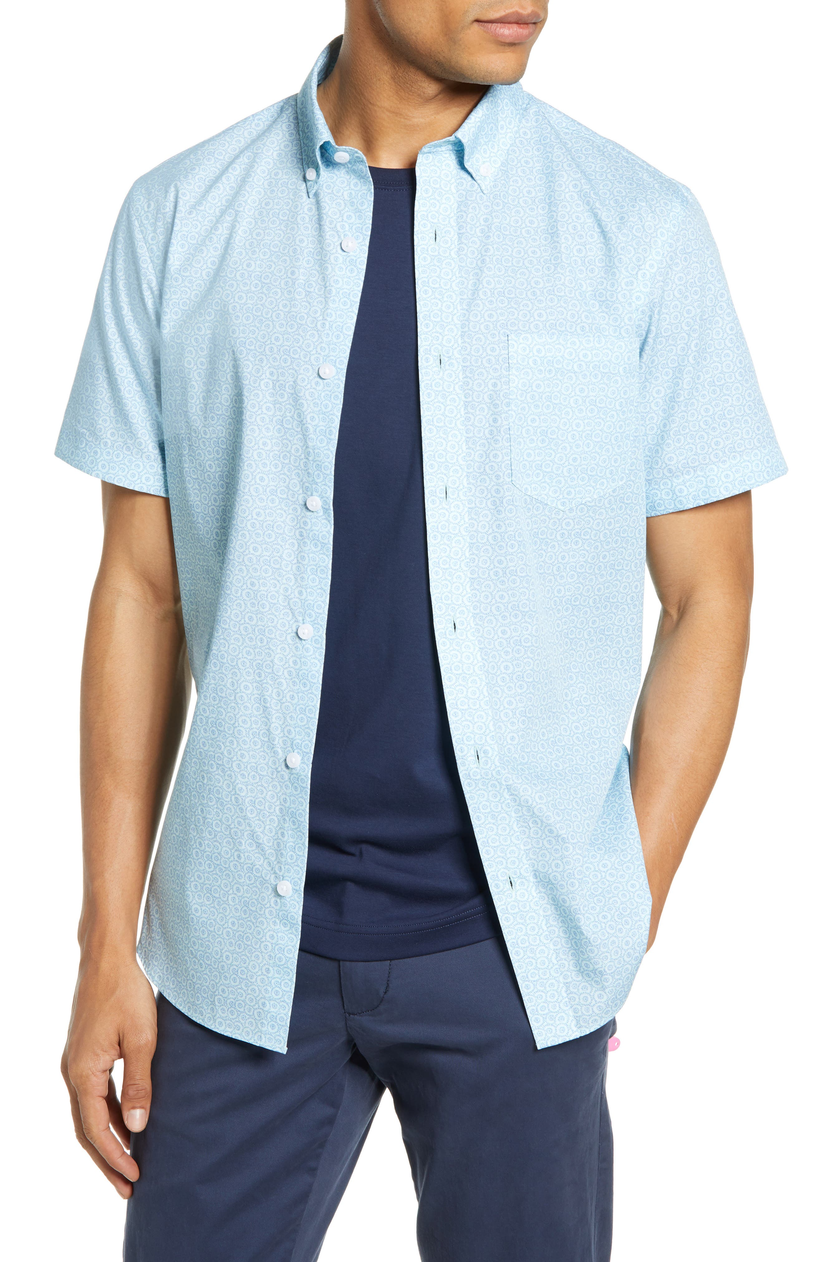 1901 Geometric Print Slim Fit Cotton Sport Shirt