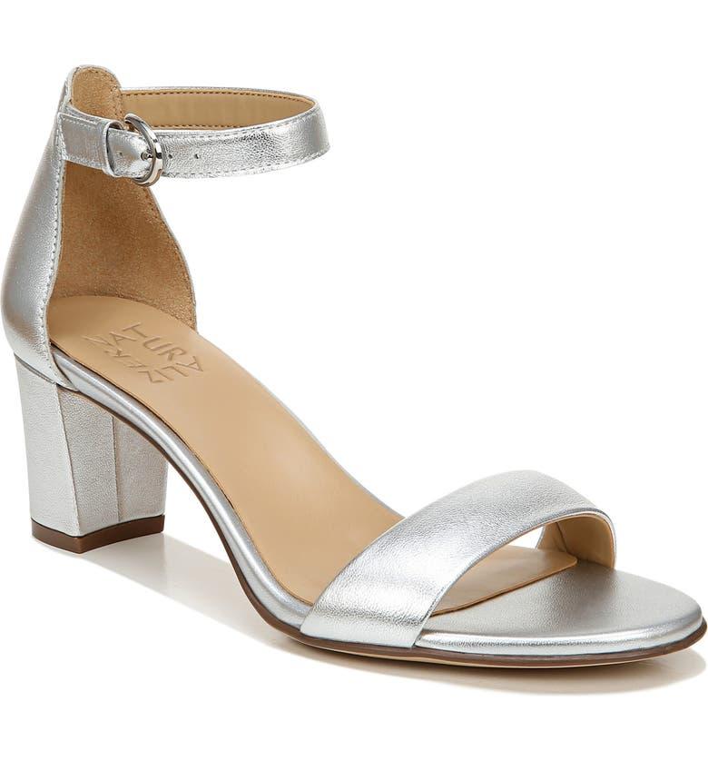 NATURALIZER Vera Ankle Strap Sandal, Main, color, SILVER LEATHER