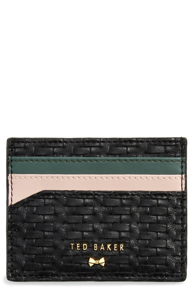 TED BAKER LONDON Mabes Faux Leather Card Holder, Main, color, BLACK