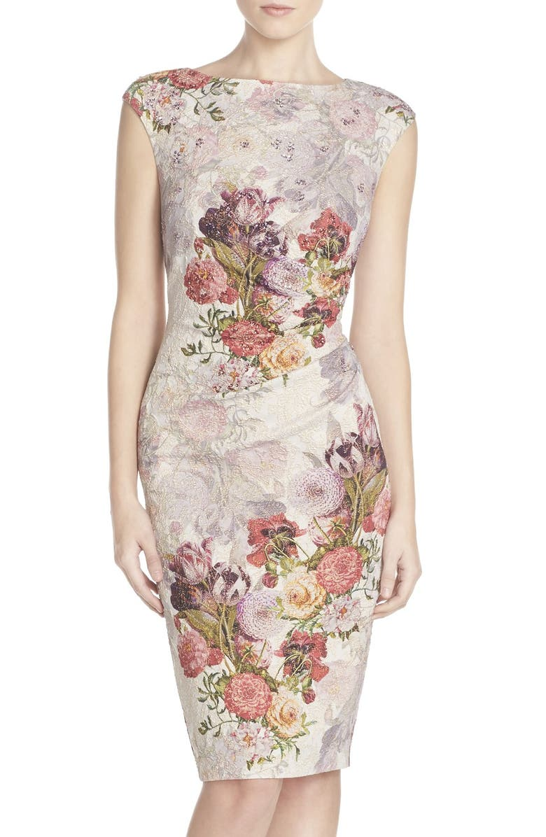 ADRIANNA PAPELL Embellished Ruched Metallic Jacquard Sheath Dress, Main, color, 560