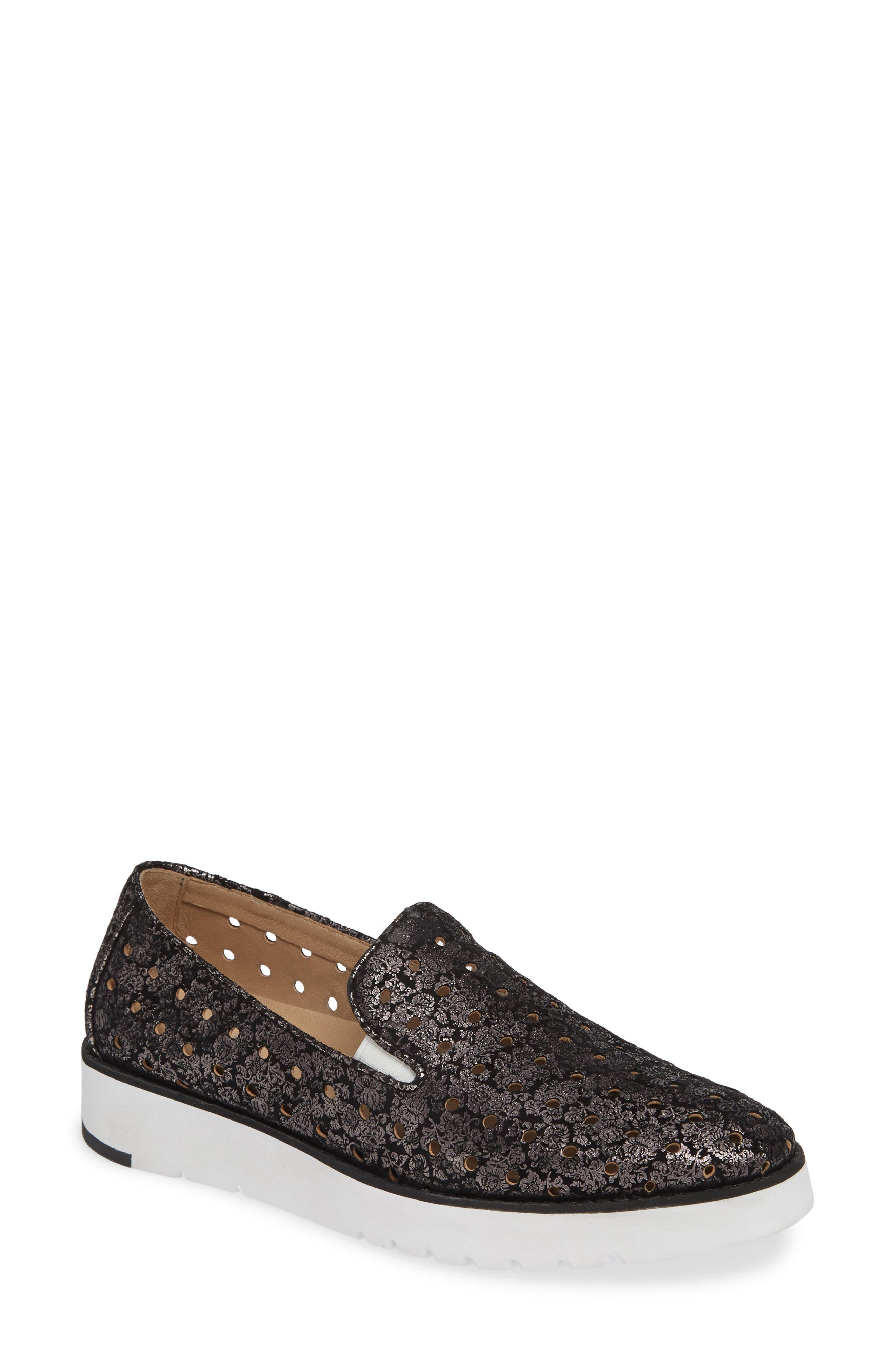 Johnston & Murphy Penelope Perforated Slip-On Sneaker, Black