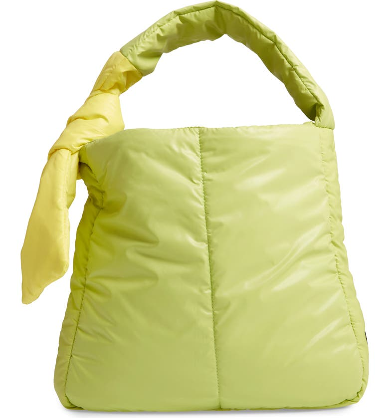 CARAA Fractus Water Resistant Nylon Tote, Main, color, LIME