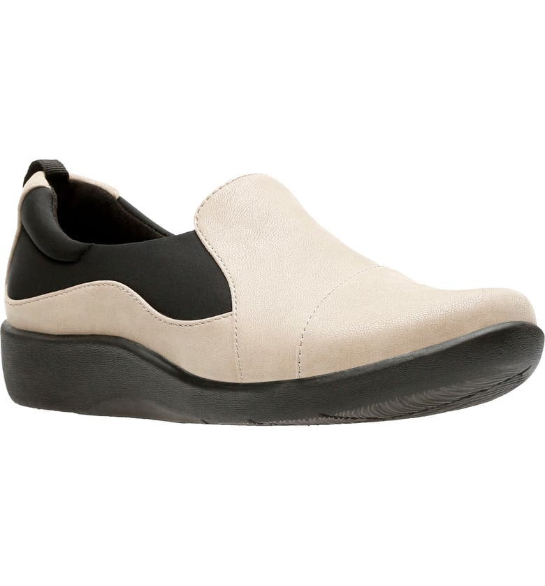 CLARKS<SUP>®</SUP> 'Sillian Paz' Slip-On Sneaker, Main, color, SAND SYNTHETIC NUBUCK