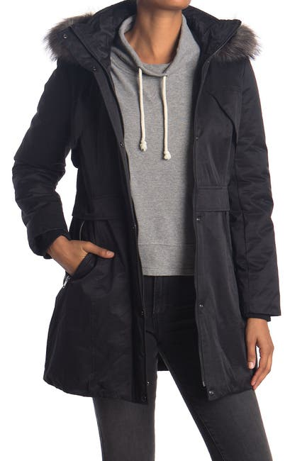 Image of Andrew Marc Faux Fur Trimmed Utility Jacket