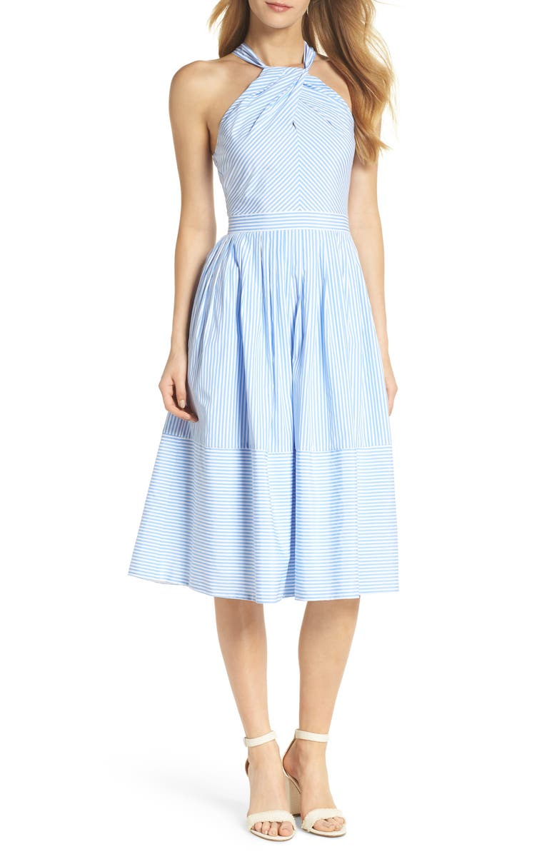 GAL MEETS GLAM COLLECTION Claire Stripe Halter Dress, Main, color, 461
