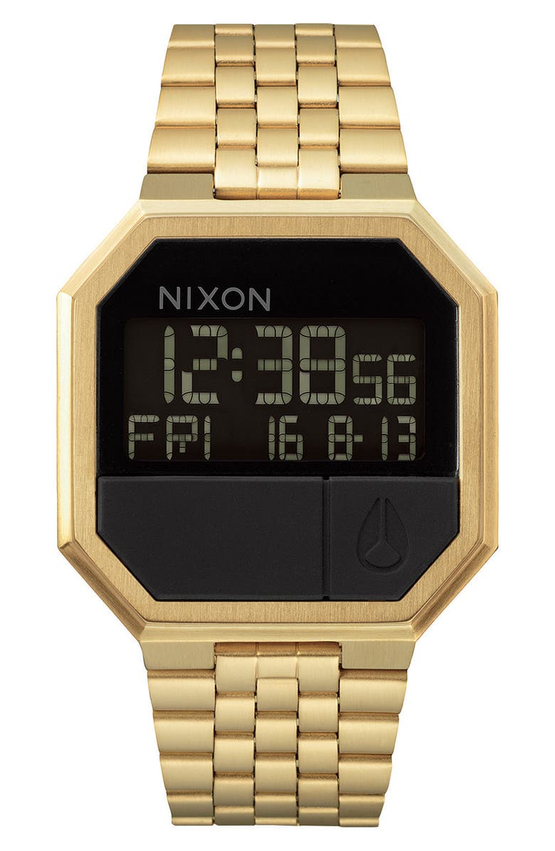 NIXON Rerun Digital Bracelet Watch, 39mm, Main, color, GOLD/ BLACK/ GOLD
